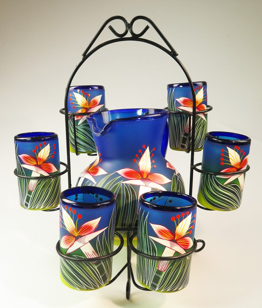 Mexican Glass Tumblers and Pitcher, Hand Painted White Orchid Flowers, 16 Oz, Set of 6, with display stand