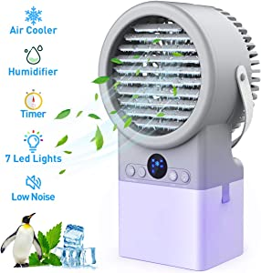 Portable Air Conditioner Mini Personal Cooler Fan With Humidifier, Quiet Misting Fan with 3 Cooling Speeds 7 LED Night Light For Home Bedroom Small Room Dorm Office Desk Table, 500ml Water Tank (Grey)