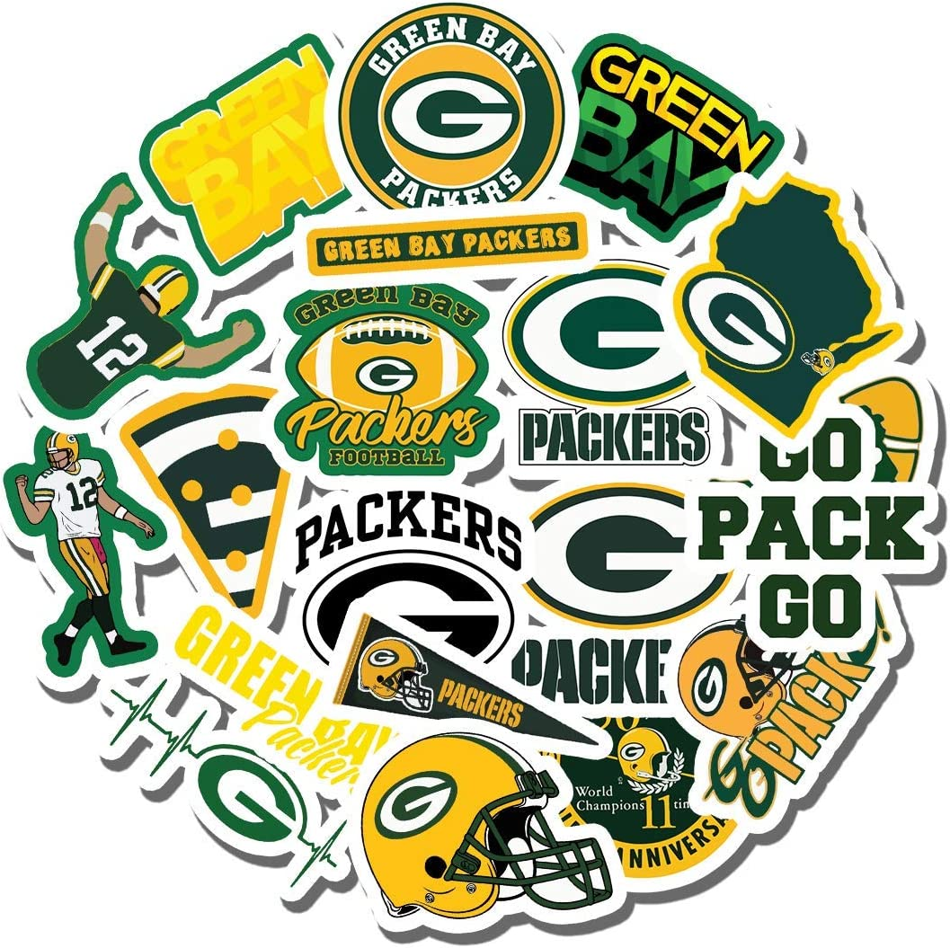 20 PCS Stickers Pack The Aesthetic Green Vinyl Bay Colorful Packers Waterproof for Water Bottle Laptop Scrapbooking Luggage Guitar Skateboard