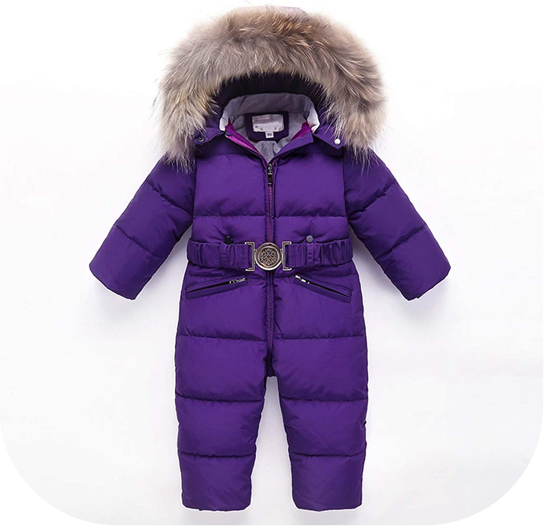 Toddler Baby Boy Winter Duck Down Jacket Ski Snowsuit Fur Collar Romper Jumpsuit