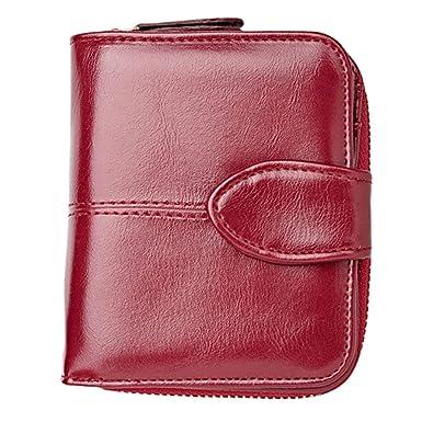 Billeteras Mujer Color SóLido Billetera Corta Cuero Tarjeta ...