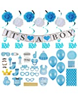 Baby Shower Decorations for a Boy, Over 100 Pieces in Kit :: Elegant Blue Décor with Hanging Banner, Balloons, Props, Flower Pom Poms, Swirlers, Napkins, Plates & Table Cover