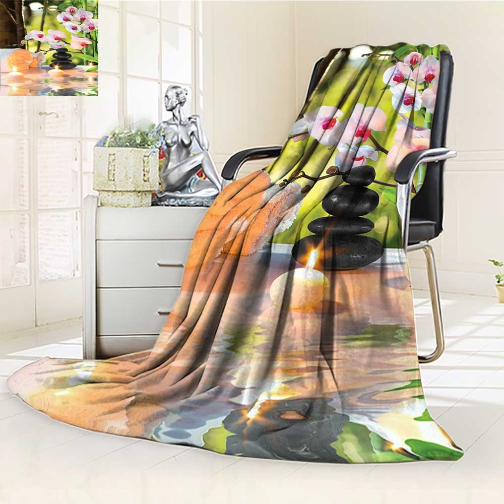 YOYI-HOME Throw Duplex Printed Blanket Spa Decor Massage Composition Spa with Candles Orchids Stones in Garden Warm Microfiber All Season Blanket for Bed or Couch /W47 x H59