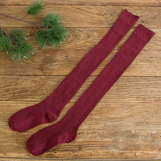 Taille Unique Red Doux Tricot de Coffre Bas Jambi/ère Cuisse Chaussettes Longues pour Femme Fille Behavetw 1/Paire de Chaussettes de Plus de Genou Haute pour Femme