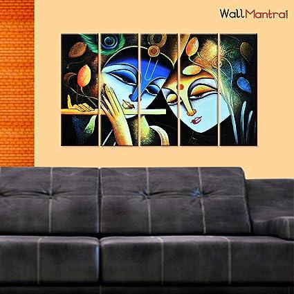 Amazon Com Wallmantra Radha Krishna Gopis Wall Painting 5 Pieces