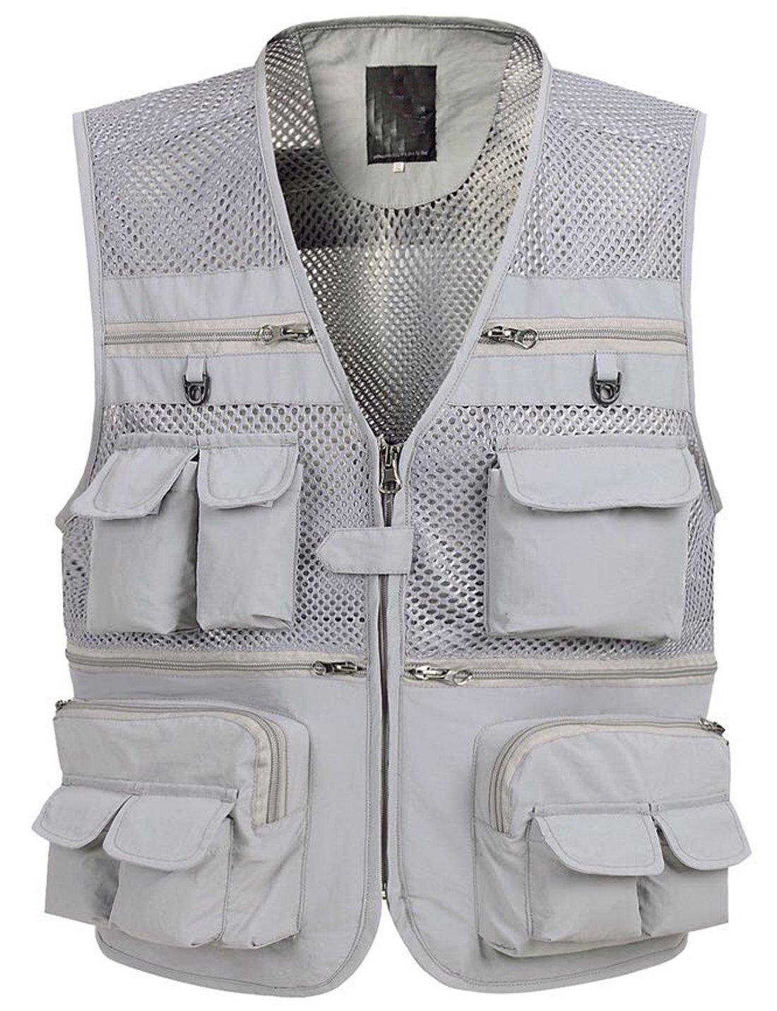 Zhusheng Men's Mesh 16 Pockets Photography Fishing Travel Outdoor Quick Dry Vest Breathable Waistcoat Jackets (XX-Large, Grey)