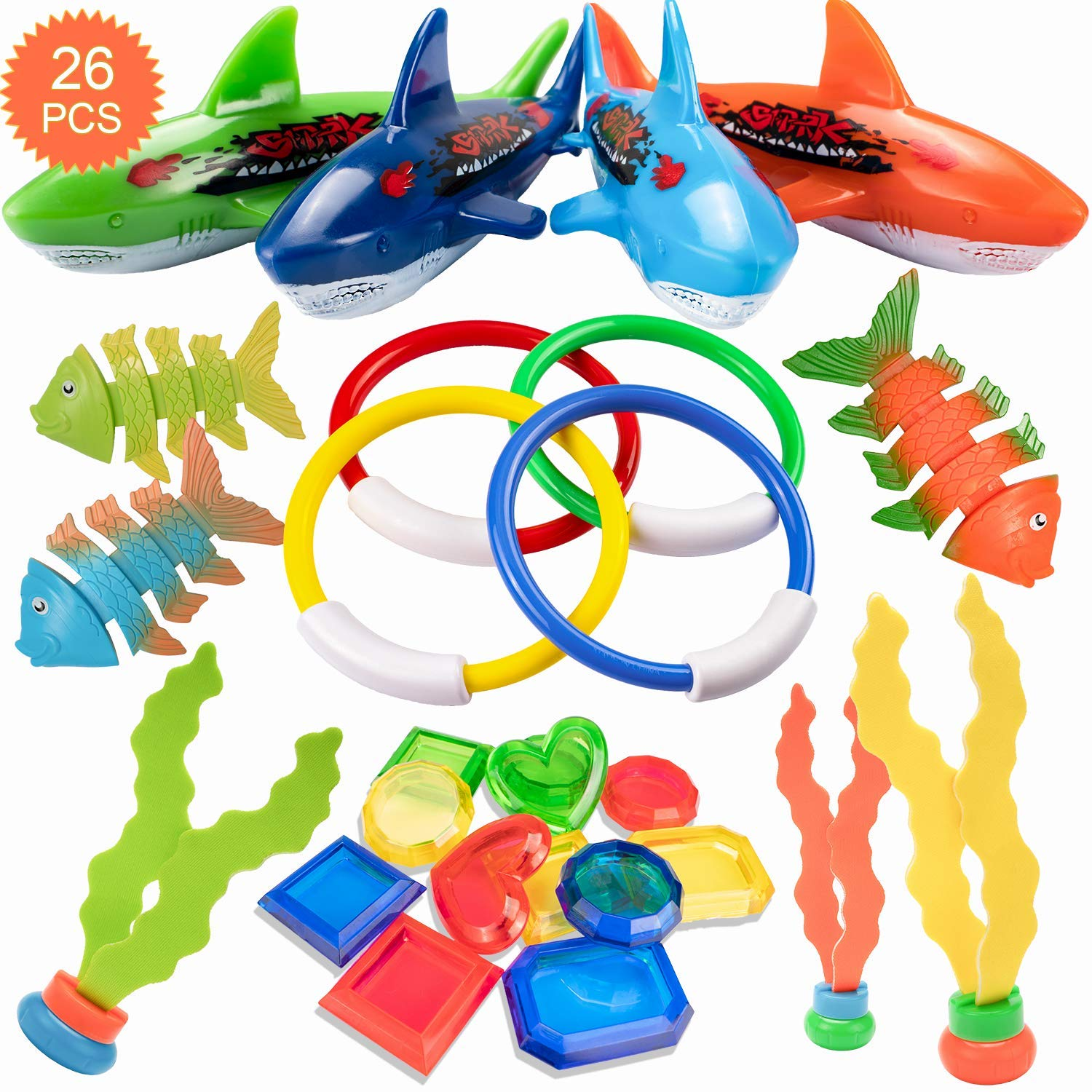 HENMI 26 Pack Diving Toy for Pool Use Underwater Swimming/Diving Pool Toy Rings, Toypedo Bandits,Stringy Octopus and Diving Fish with Under Water Treasures Gift Set Bundle,Ages 3 and Up by HENMI