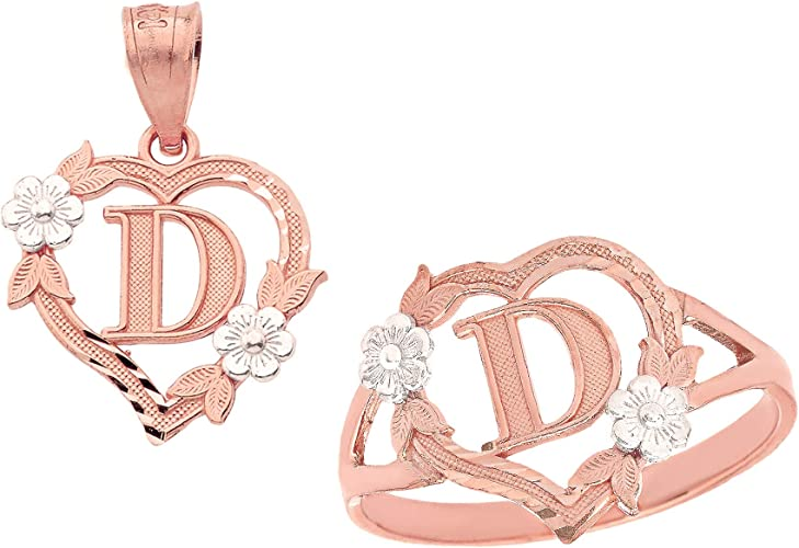 Letter A CaliRoseJewelry 10k Beautiful Two-Tone Initial Heart Pendant for Women in Rose and White Gold