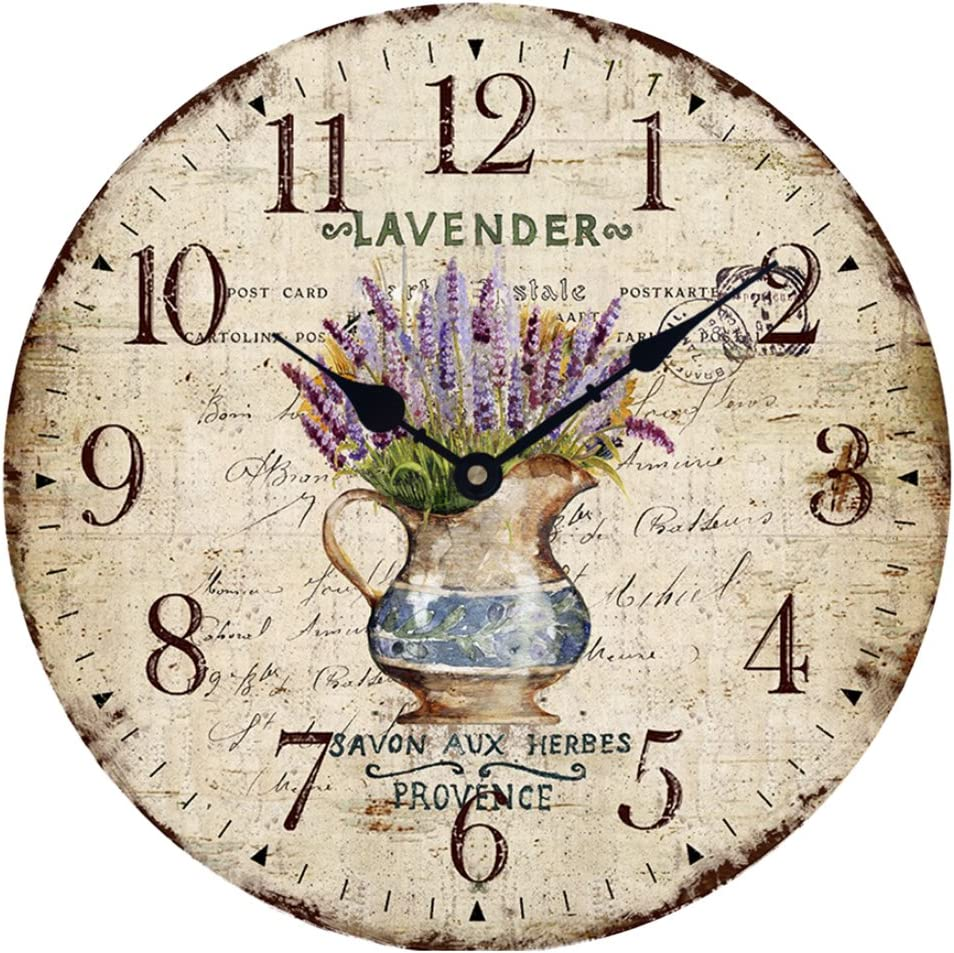 "Wood Wall Clock 12""Vintage French Country Print Lavender in Pot Romantic Shabby Chic Large Decorative Roman Numerals Analog Battery Operated Silent for Home Decoration"