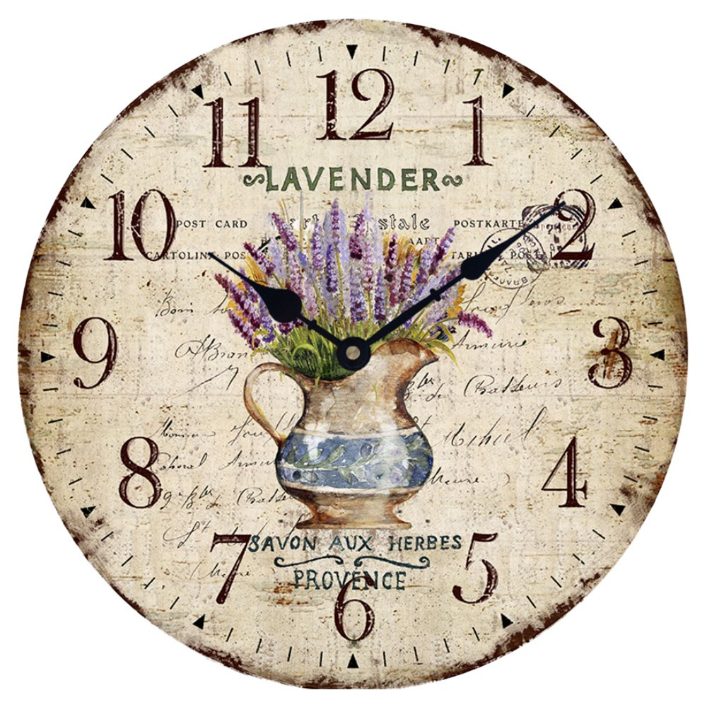 Wood Wall Clock 12''Vintage French Country Print Lavender in Pot Romantic Shabby Chic Large Decorative Roman Numerals Analog Battery Operated Silent for Home Decoration