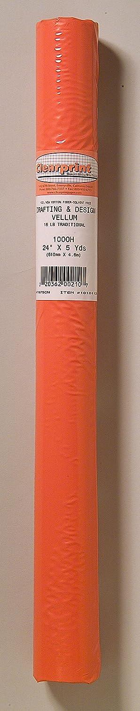 Clearprint 1000H Design Vellum Roll, 16 lb, 100% Cotton, 24 W x 5 yd Long, Translucent White, 1 Each (10101128) 24 W x 5 yd Long Chartpak Inc.