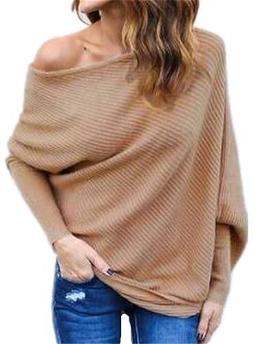Aoliait Sweater Mujeres Color Sólido De Manga Larga Top Casual T-Shirt Moda Sudaderas Sin Tirantes