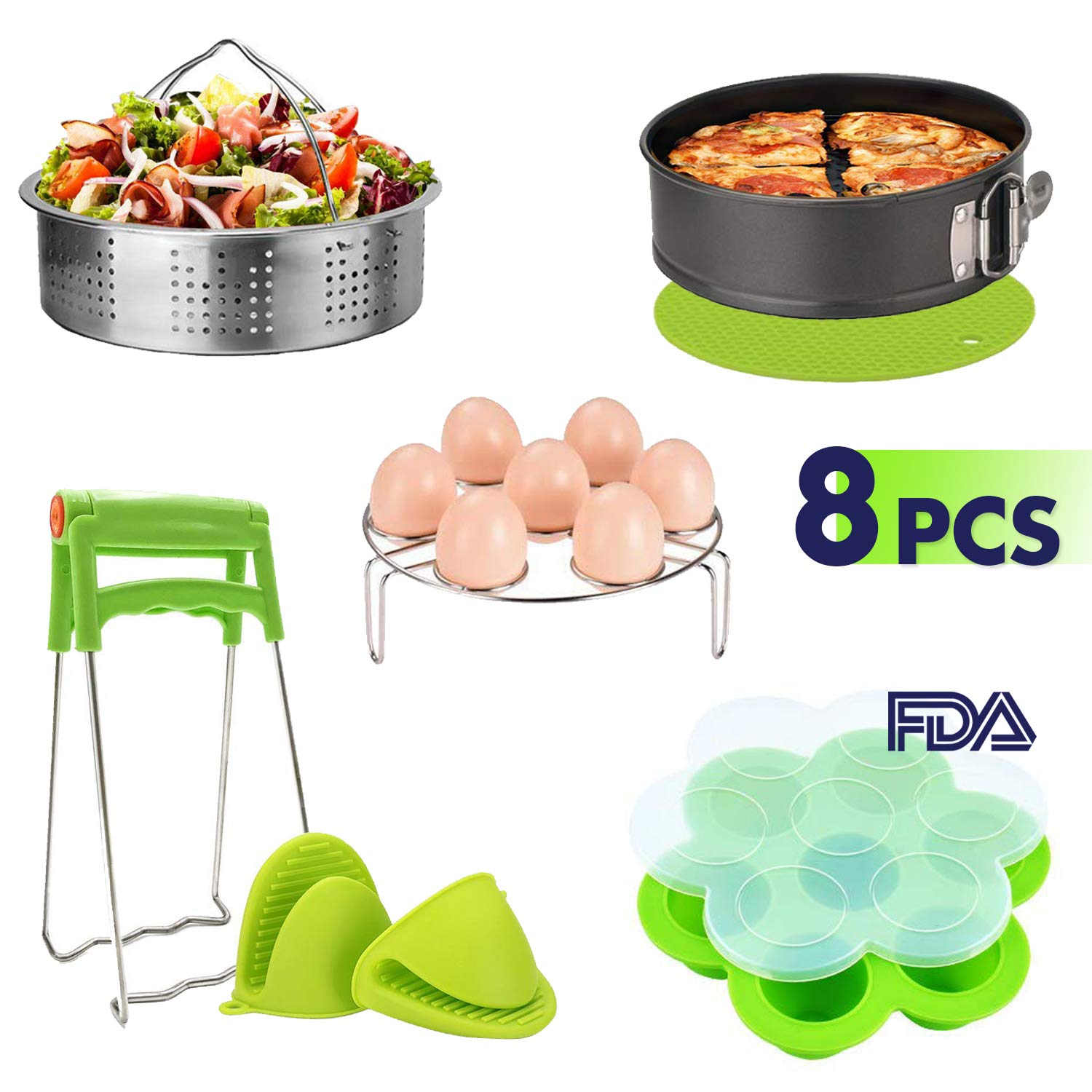 Instant Pot Accessories Set(8pcs) - Steamer Basket, Egg Steamer Rack, Egg Bites Molds, Non-stick Springform Pan, Silicone Mitt, Dish Clamp, Silicone Potholder Mat 2 x Silicone Mitt Fits 5,6,8Qt