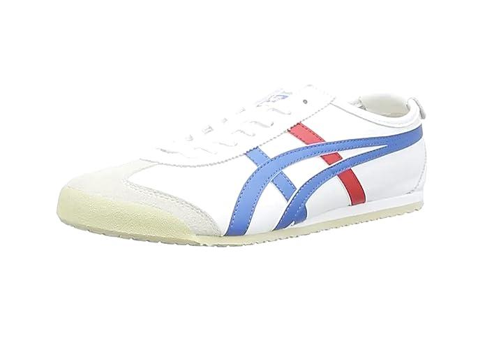 Onitsuka Tiger Mexico 66 Low Top Sneakers Herren Weiß mit Blau Roten Streifen