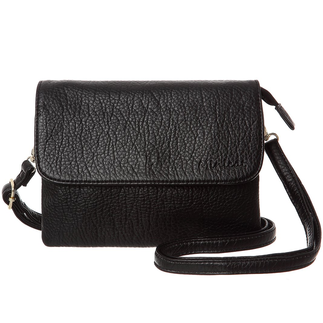MINICAT Women Synthetic Leather Small Crossbody Bag Cell Phone Purse Wallet(Black-Small Size-no card slots)