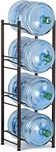 4-Tier Water Cooler Jug Rack 5 Gallon Water Cooler Jug Stand Water Bottle Stackable Storage Shelves Detachable Water Dispenser Stainless Steel Rack Easy Assemble for Home Kitchen Office Save Spacer
