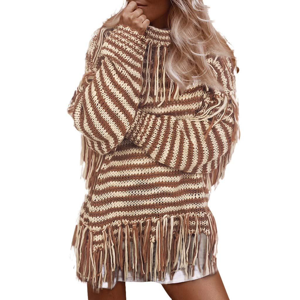 SPORTTIN Women's Striped Turtleneck Sweater Chunky Knit with Tassels High Collar Pullover Loose Tops(Khaki,Medium by SPORTTIN