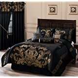 Chezmoi Collection 7-Piece Jacquard Floral Comforter Set/Bed-in-a-Bag Set, King, Black Gold