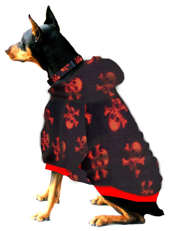 Boxer Doberman Dog Sweatshirt for Large Dog (60 to 90 Pounds) Red Skulls on Black Fleece