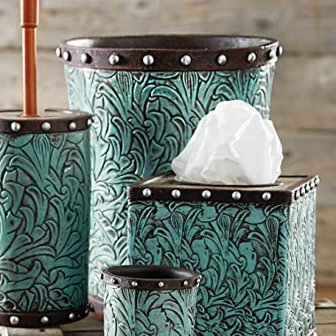 Black Forest Decor Tooled Turquoise Flowers Waste Basket