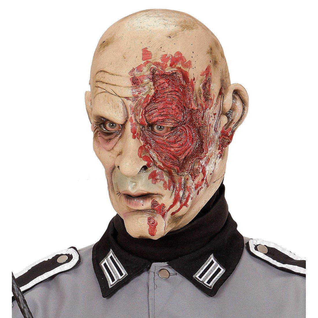 Careta zombie soldado Antifaz de látex general Máscara muerto viviente Mascarilla terrorífica guerrero Cubre rostro terror militar Accesorio Halloween ...
