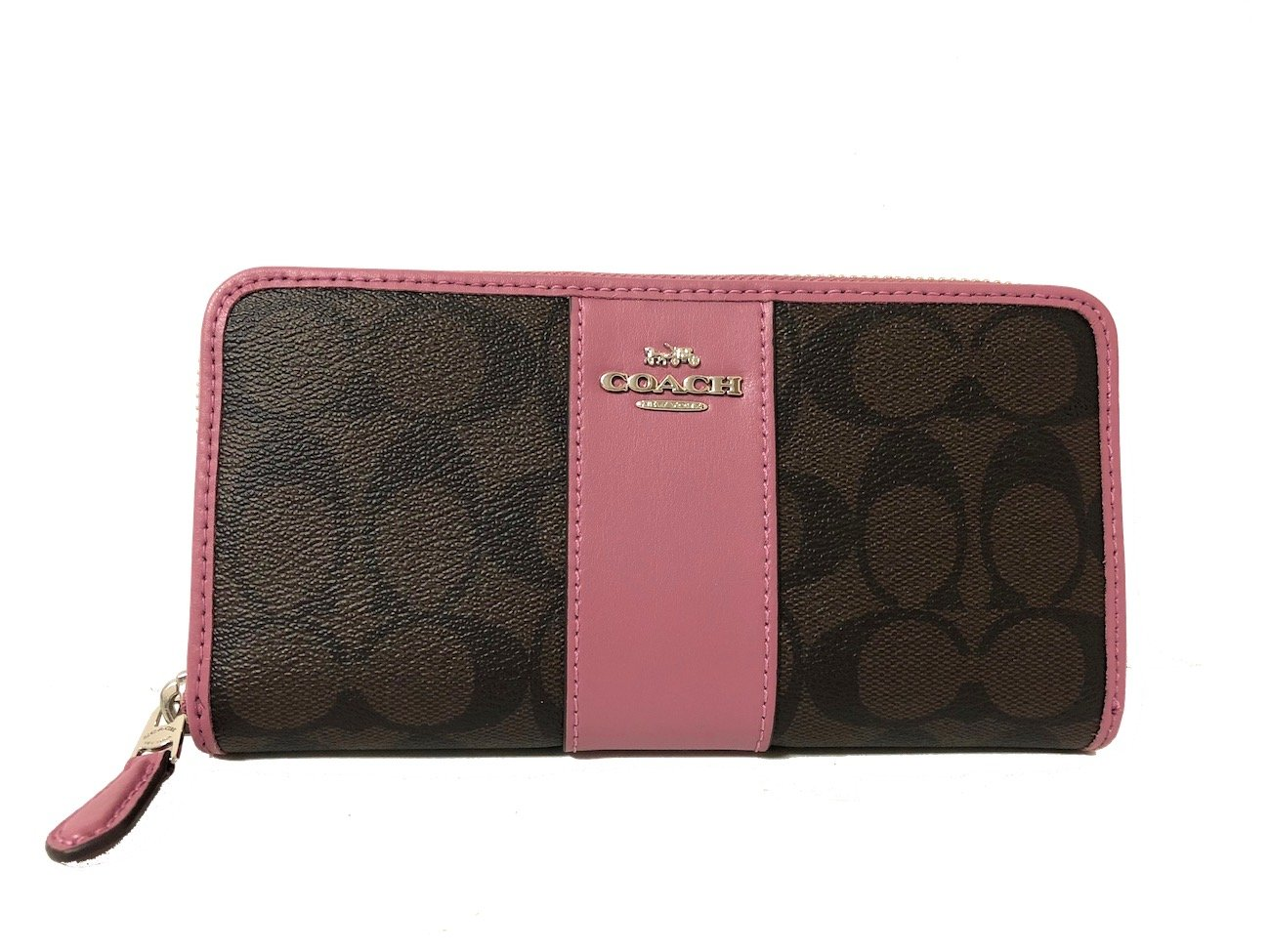 check out 172d9 f241f COACH ACCORDION ZIP WALLET IN SIGNATURE F54630 (SV/Brown Azalea)