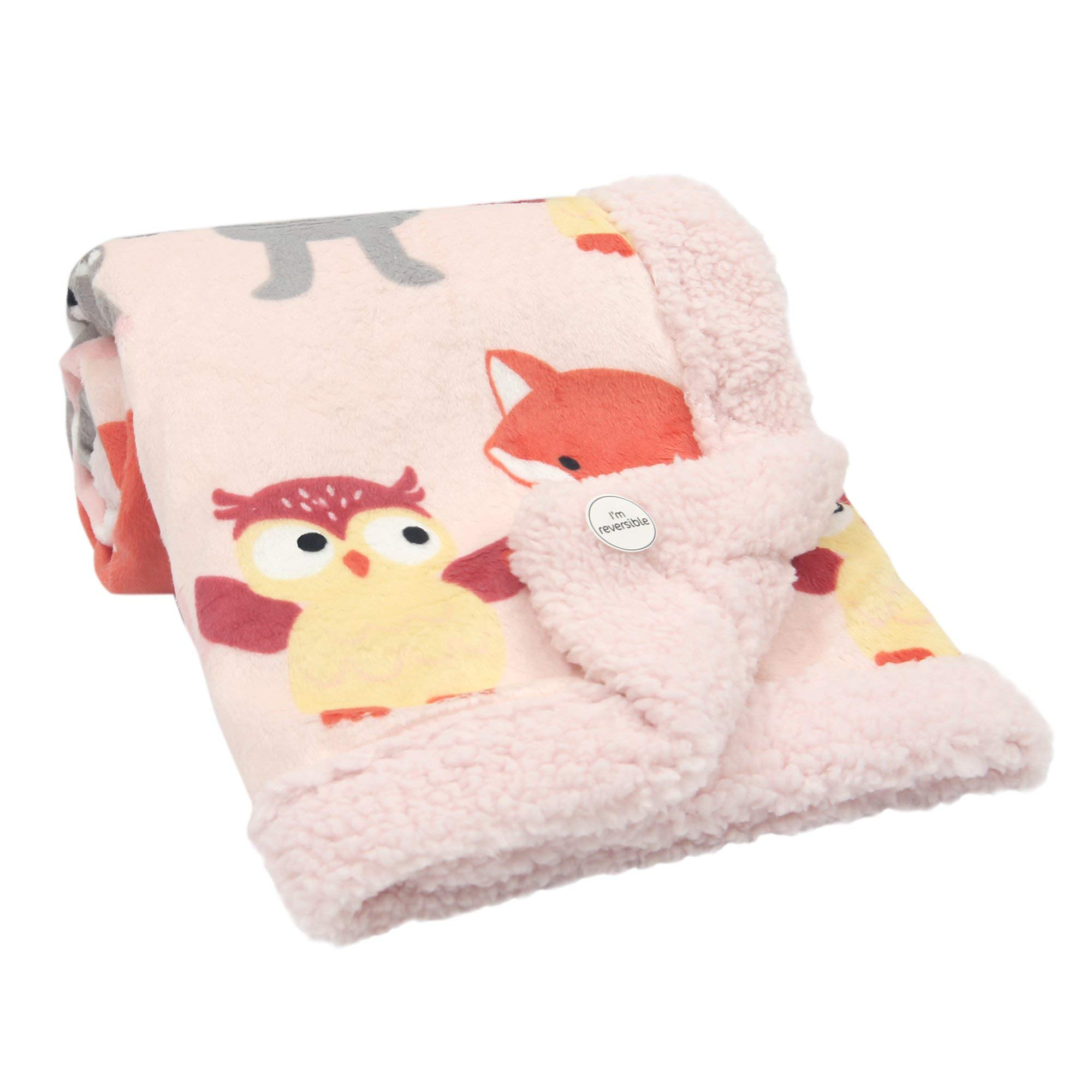 Lambs & Ivy Little Woodland Forest Animals Blanket, Pink/White