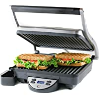 Ovente GP1000BR Digital Electric Panini Press Grill and Gourmet Sandwich Maker
