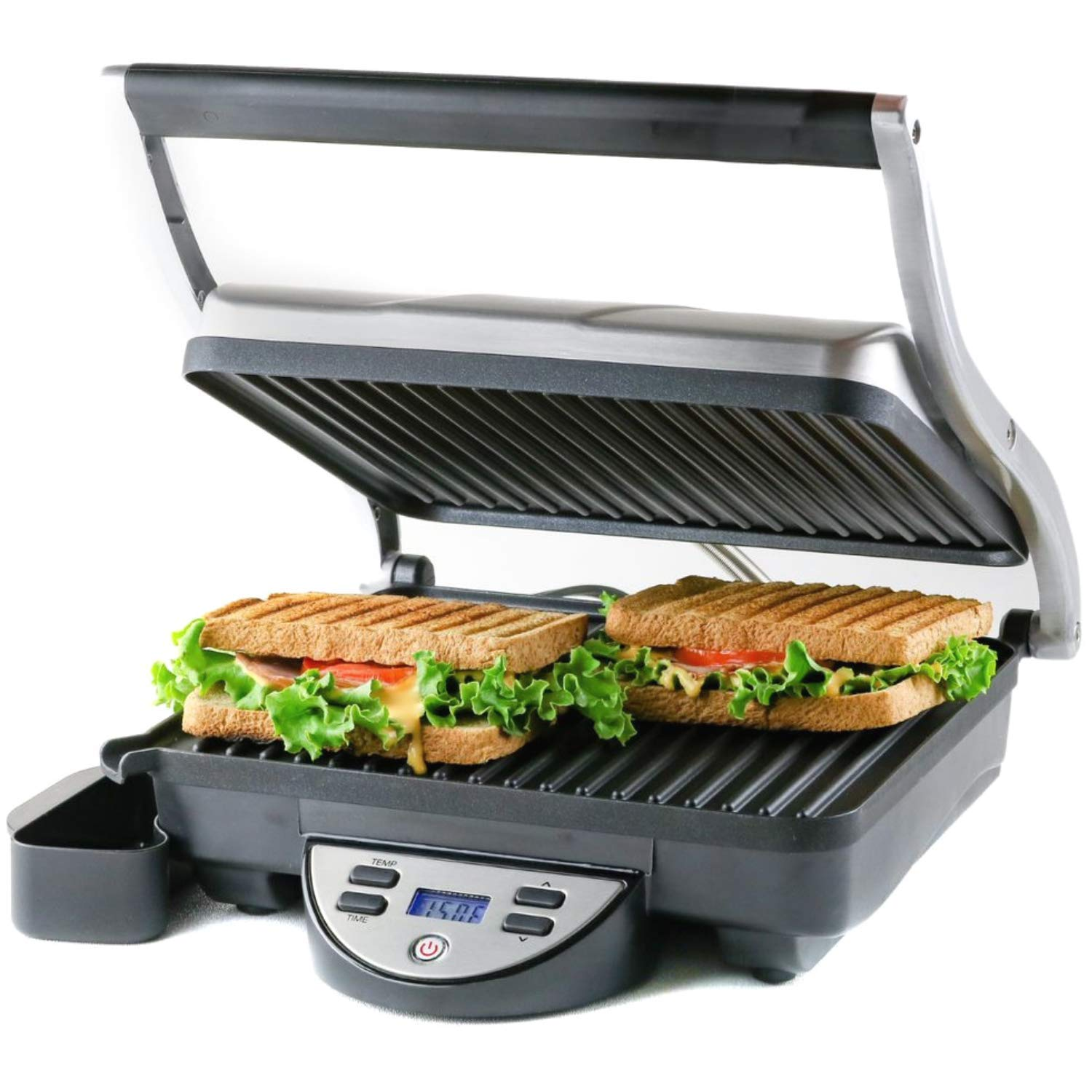 Ovente GP1000BR Electric Panini, 10.2 × 9'' Non-Stick Plates, 1500W, Digital LCD Display, Timer & Auto Shut-Off, Free Grill, Brushed Silver by Ovente
