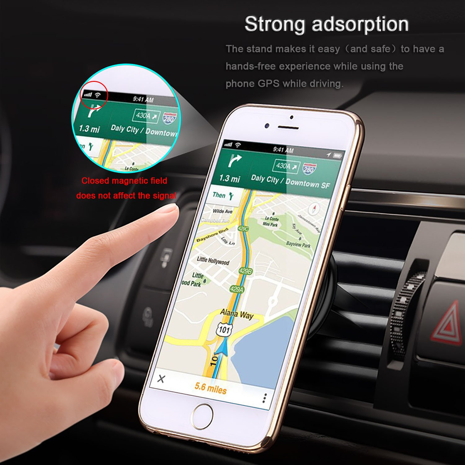 1 Pack S8 S7 S6 Edge including iPhone 8 // 8 Plus // X // 7 Plus 6S 6 5s 5 SE Innens Universal Air Vent Magnetic Car Mount Holder for Smartphone and Mini Tablets Galaxy Note 8 5 4 2