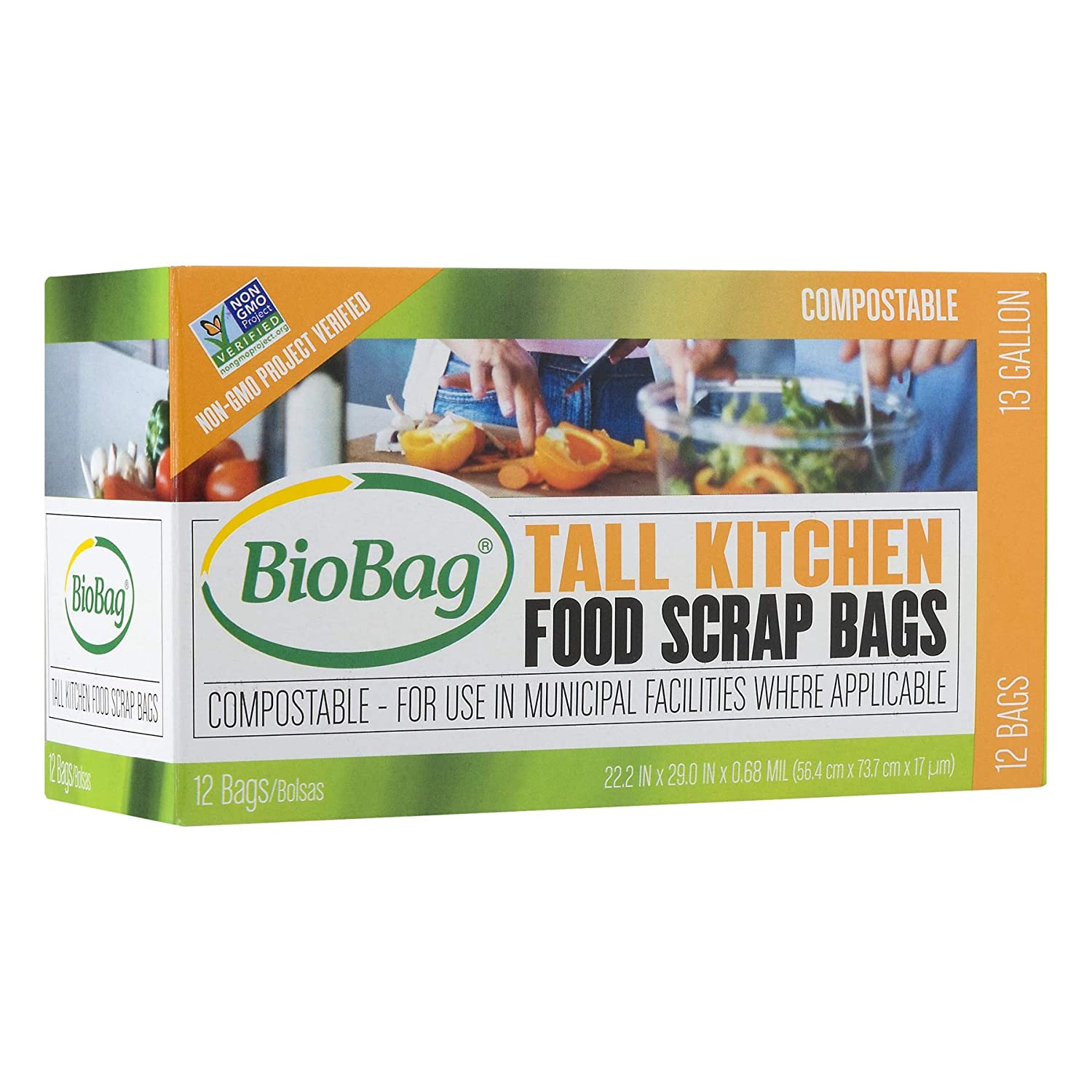 BioBag, The Original Compostable Bag, Kitchen Food Scrap Bags, ASTMD6400 Certified 100% Compostable Bags, Biodegradable Products Institute & VINCOTTE ...