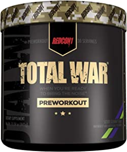Redcon1 Total War - Pre Workout Powder, 30 Servings, Boost Energy, Increase Endurance and Focus, Beta-Alanine, 350mg Caffeine, Citrulline Malate, Nitric Oxide Booster - Keto Friendly (Sour Gummy Bear)