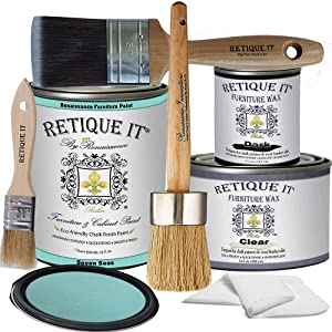 Retique It Chalk Furniture Paint by Renaissance Deluxe Starter Kit, Wax, 35 Seven Seas, 32 Ounces