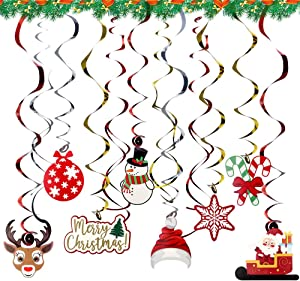 Christmas Hanging Swirl Decorations, 47pcs Foil Ceiling Hanging Swirl Yard Party Supplies, Snowman Snowflake Winter New Year Hanging Pendant Spiral Ornament, Perfect for Home Outdoor Indoor Decor