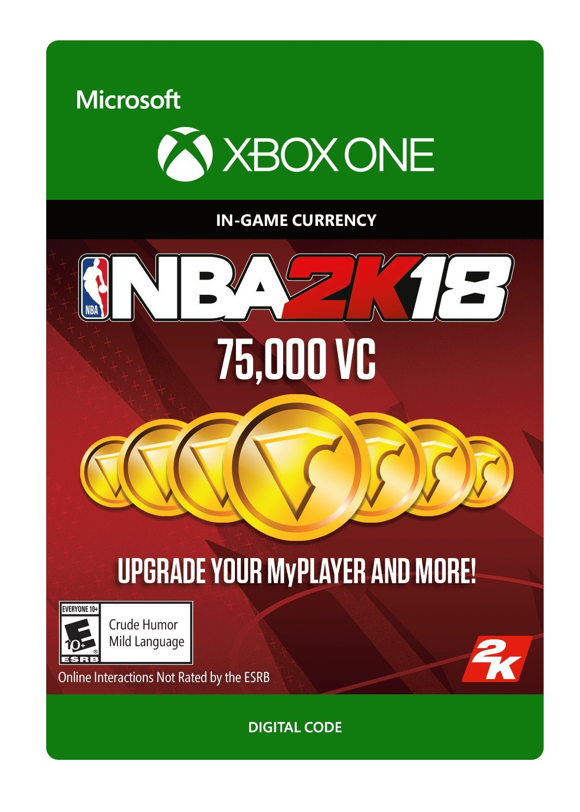 NBA 2K18: 75,000 VC - Xbox One [Digital Code] by 2K Games