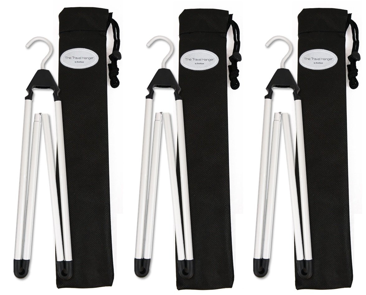 Boottique Travel Hanger, Car Hanger, Clothes Hanger- Foldable Hanger, Folding Hanger, Collapsible Hanger, Portable Hanger (Matte Silver & Black) (3)