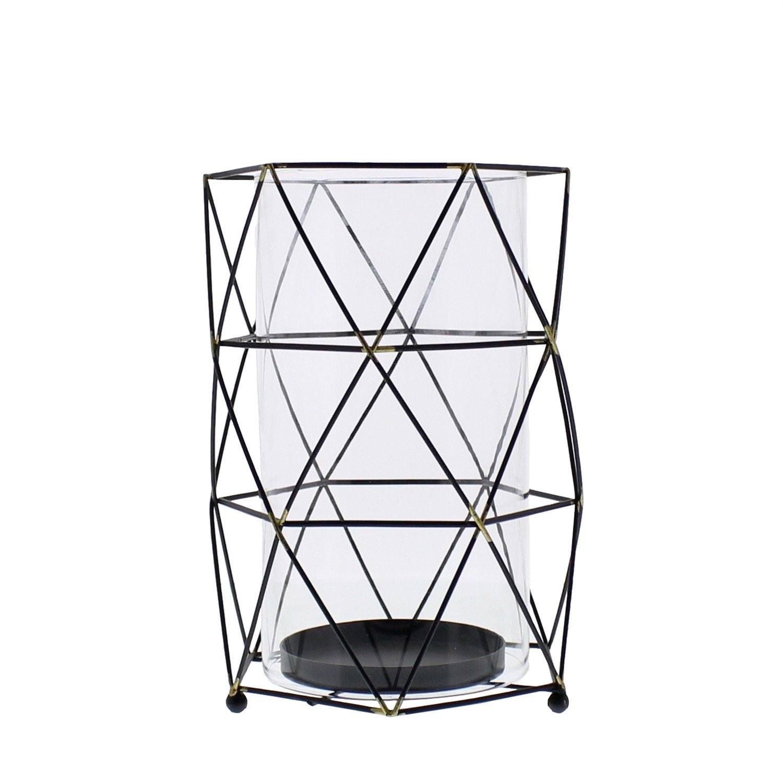 Mid Century Modern Metal Cage Candle Hurricane | Prism Shape Retro