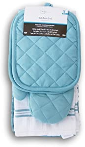 Topaz Kitchen Towel Set 5 Piece - Pot Holders, Oven Mitt and Terry Kitchen Towels