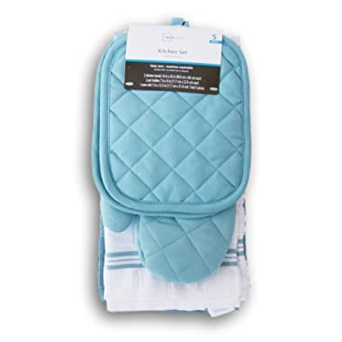 Topaz Kitchen Towel Set 5 Piece - Pot Holders, Oven Mitt and Terry Kitchen Towels