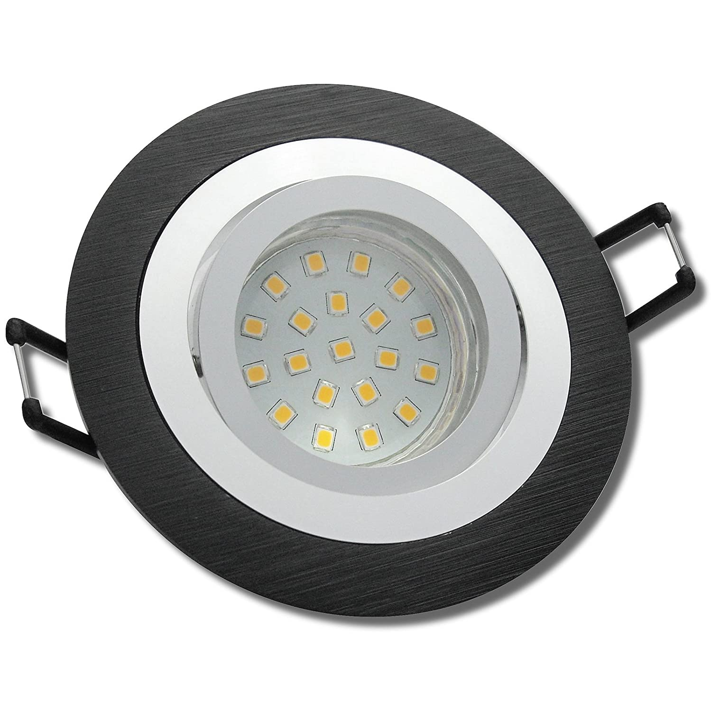 7 Stück SMD LED Einbauleuchte Marie 12 Volt 3 Watt Schwenkbar Schwarz Warmweiß