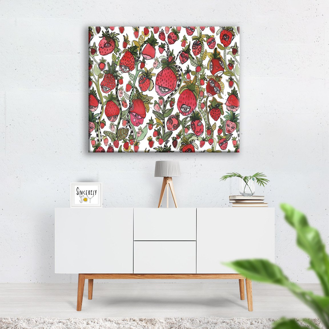 Strawberry Friends Abstract Wall Art Original Fruit Faces Painting