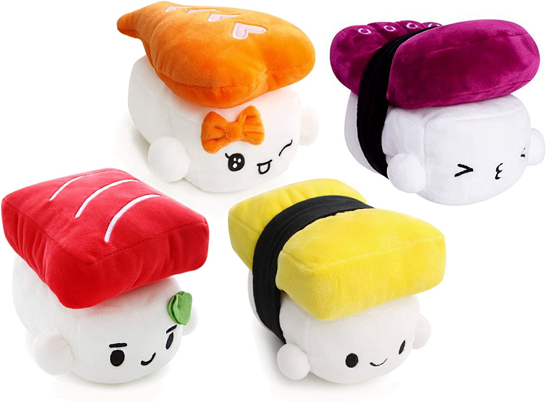 "SUSHI 6"" (15cm) Cute Plush Pillow Cushion Doll x4 SET Toy Gift Bedding Room Decoration Kawaii (Octopus+Egg+Shrimp+Tuna)"