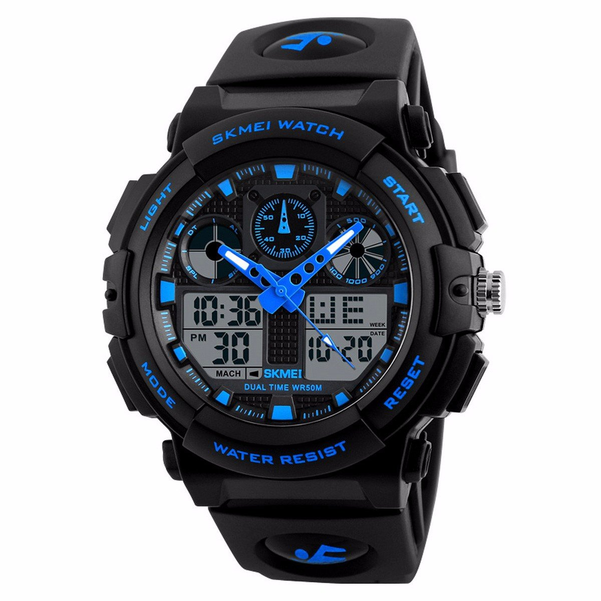 OLSUS 50m Watwrproof Men's Sports Watch, Digital Chronograph Wristwatch Blue