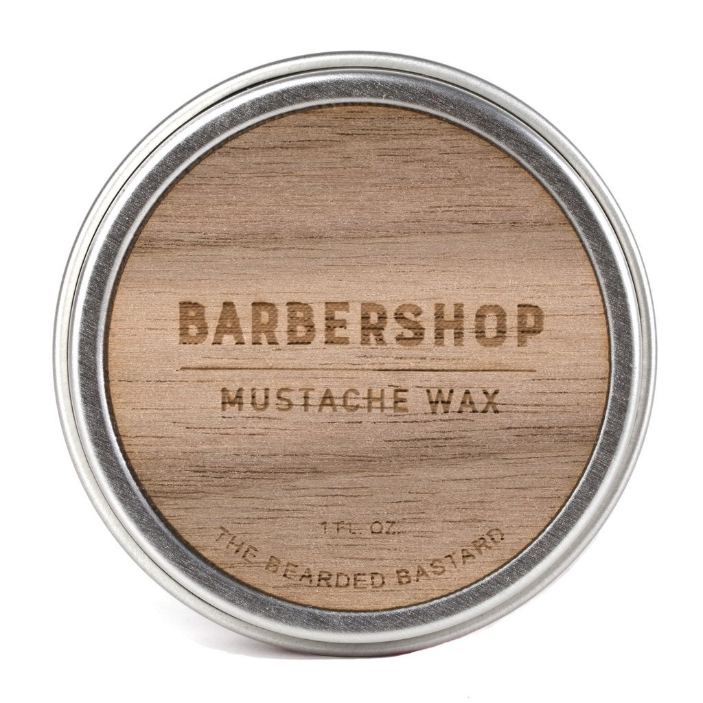 Barbershop Mustache Wax by The Bearded Bastard | A Strong Hold| Mustache Grooming, Men's Grooming, Hydrating, Essential Oils, Beeswax, Jojoba Oil, Men's Care, Facial Hair Products | ALL NATURAL, 1oz