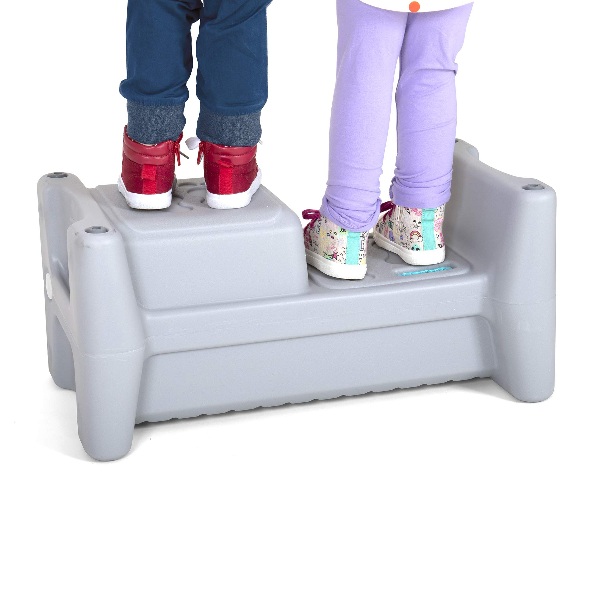 Simplay3 Sibling Step Stool - 2 Sided Extra Wide Sit and Stand Multiple Height Lightweight Anti Slip Step Stool for Children