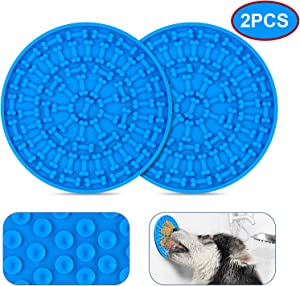 ZOLEN Dog Slow Dispensing Treater Mat Lick mat for Dogs Peanut Butter Lick pad for Pet Bathing, Grooming, and Dog Training [Blue] 2pcs