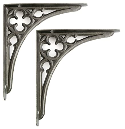 Cast Iron TWO PAIRS OF SMALL HONEYCOMB SHELF BRACKETS CAST IRON WALL SHELF BRACKET