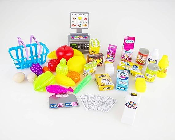 Supermercato Playset Per Bambini Negozio Alimentari Mini Market Gioco D'Imitazione Con 38 Pezzi Frutta Verdura Snack Registratore Di Cassa Misure 51 x