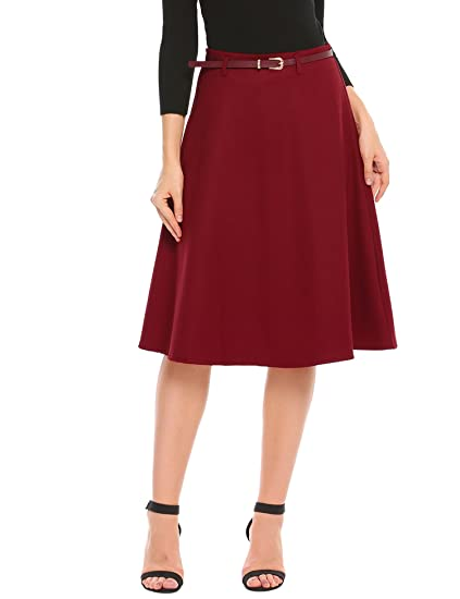 1960s Fashion: What Did Women Wear? Zeagoo Vintage High Waist A Line Midi Pleated Flare Swing Skirts for Women with Belt $22.99 AT vintagedancer.com