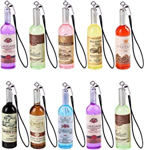 Yaoding 20pcs/lot Mini Red Wine Bottle Keyring Keychain for Mobile Phone Bag Pendant Charms